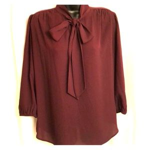 NY&Co Maroon Sheer Blouse with Bow